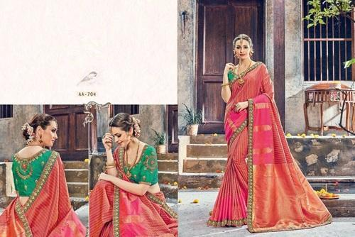 Jacquard Designer Embroidery Party Wear Saree