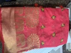 Casual Wear Printed ORGANZA EMBROIDERED SAREE, With blouse piece, 5.5 m (separate blouse piece)