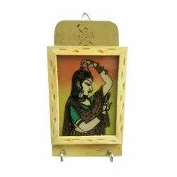 iHandikart Gemstone Painting Wooden Key And Letter Holder