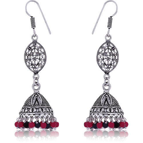 da2bef751 Party Available Colors are shown in images Fashion Frill silver Oxidised  Pearl Adorned Hook Jhumki