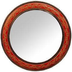 Multicolor Wooden Embroidered Hand Painted Round Shape Mirror / Wall Mirror