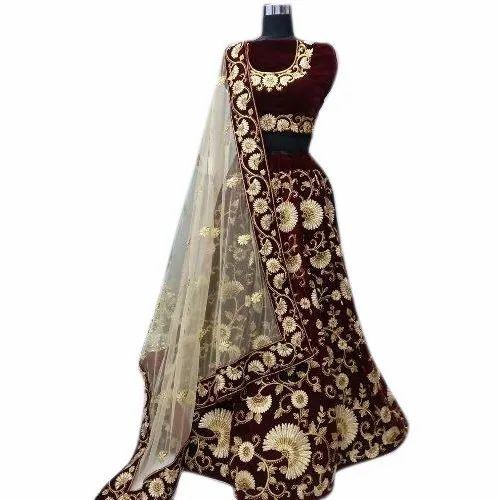 6590c7a6ce Maroon Velvet Bridal Lehenga Choli, Rs 2990 /piece, Anjani Art | ID ...