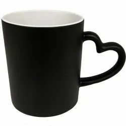 Heart Handle Magic Mug Black