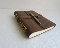 Vintage Brown Leather Bound Journal With Pen