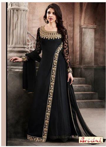ee0407c602c Ladies Black Faux Georgette Floor Length Anarkali Suit - Bridal ...