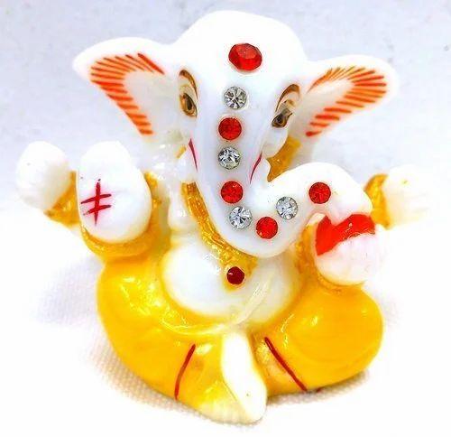 Marble Ganesh Showpiece For Car Dashboard