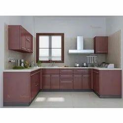 Wooden High Gloss Laminate Modular Kitchen