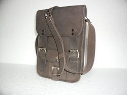Grey Leather Vertical Messenger Bag