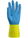 Bi-Color Yellow And Blue Latex Gloves