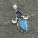 Smoky and Labradorite Nice Gemstone Handmade Jewelry Pendant