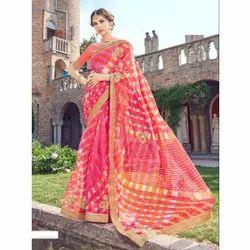 Designer Paper Silk Bandhani Saree