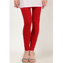 Cotton Ladies Red Plain Leggings, Size: S-XXL