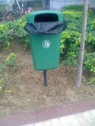 Green Pole Mounted Bin