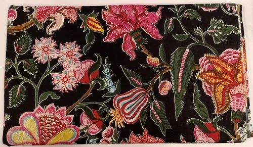 Black Color Cotton Floral Print Fabric Indian Printed Handmade Dressmaking Running Fabric
