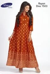 Rayon Anarkali Gown Kurti with Gold Block