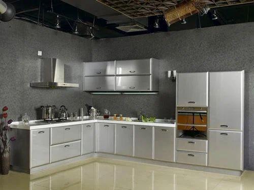 Kube L Shape Stainless Steel Modular Kitchen, Warranty: 1-5 Years