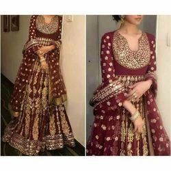 Bridal Wedding Chanderi Fancy Lehenga, Size: S, M and L