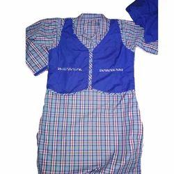Blue Cotton Girls School Uniform