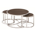 Stainless Steel Coffee Table With Wooden Base