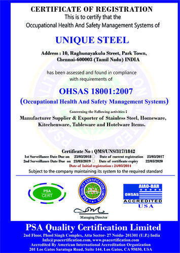 Unique Steel - Manufacturer from George Town, Chennai, India | About Us
