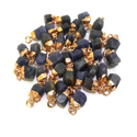 Blue Sapphire Gold Plated Rough Stone Charm Pendant