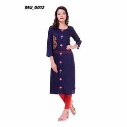 Navy Blue Cotton Ladies Kurti