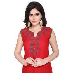 Ladies Cotton Sleeveless Ethnic Kurti, Size: M-XXL