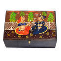 Mughal Painted Brown Color Box Set Of 2