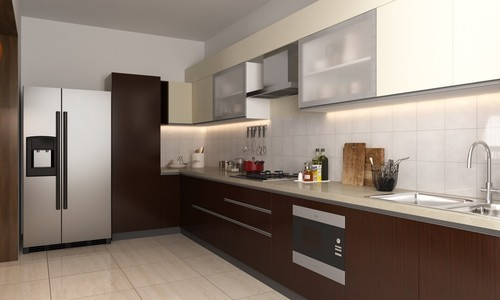 Red And Brown Modular Designer Kitchen Rs 20000 Square Meter
