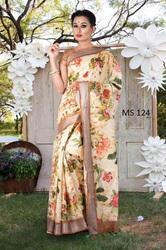 Linen Floral Digital Print Saree with Print Blouse Piece, Length: 6.3 m