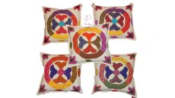 Multi Colour Cotton Hand Embroidered Patchwork Cushion Covers