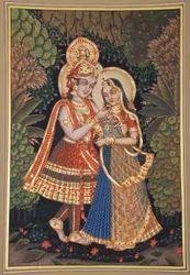Radha Krishna Paper Painting