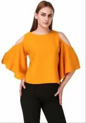Golden Yellow Solid Crepe Top