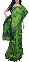 Green Riaa collection Mesmerizing Ethnic Authentic BALUCHARI Hand Woven Silk Saree - RIAA