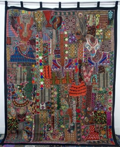 Handmade Indian Vintage Sari Patchwork Curtains