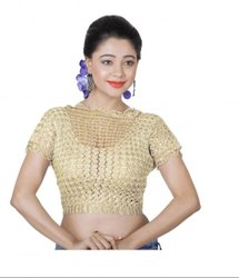Abhi Crochet High Neck Blouse with Half Sleeves