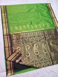 Silk Jaquard Work Irkal Paithani, Machine Made, 6.3 m (with blouse piece)