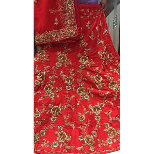 Semi-Stitched Red Embroidered Lehenga