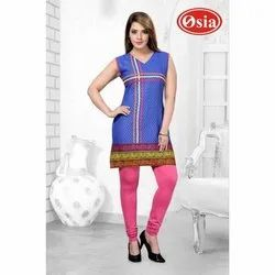 Cotton Sleeveless Blue Ladies Cambric Kurtis