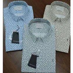 Semi-Formal Cotton Mens Dotted Printed Shirts