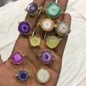 Pink Yellow Purple White Green Solar Quartz Agate Druzy Bezel Connectors