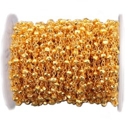 Nanplanetsilver Golden Pyrite Gemstone Wire Wrapped Chain