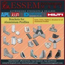 DARSHANA Zinc Diecast L Brackets for Aluminium Profiles