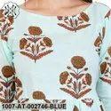 Blue Cotton Floral Kurta