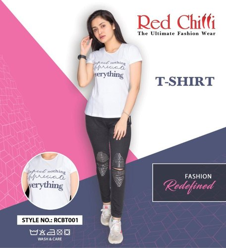 Red Chilli Round White T-Shirt For Women