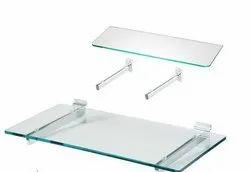Transparent Wall Mounted Slatwall Panel Glass Shelves, for Showroom