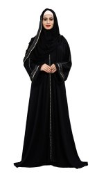 Korean Slub Plain Burqa With Pipe Lace Work & Hijab