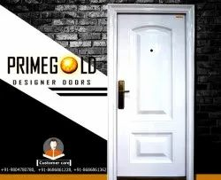 Prime Gold Ms White Security Steel Door PGS 6 (with door frame), Size: 81x38 Inch, Thickness: 70 Mm