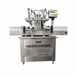 Stainless Steel Automatic 6 Head Bottle Filling Machine, Capacity: 300 BPM
