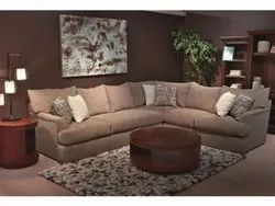 Elite Black And Brown L Shaped Leather Finished Sofa, Back Style: Tight Back, Seating Capacity: 5 Seater